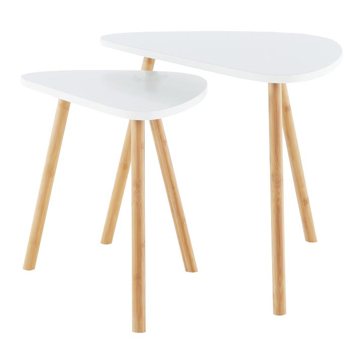 Sada dvoch konferenčných stolíkov, biela/prírodná, BISMAK, detail z predu