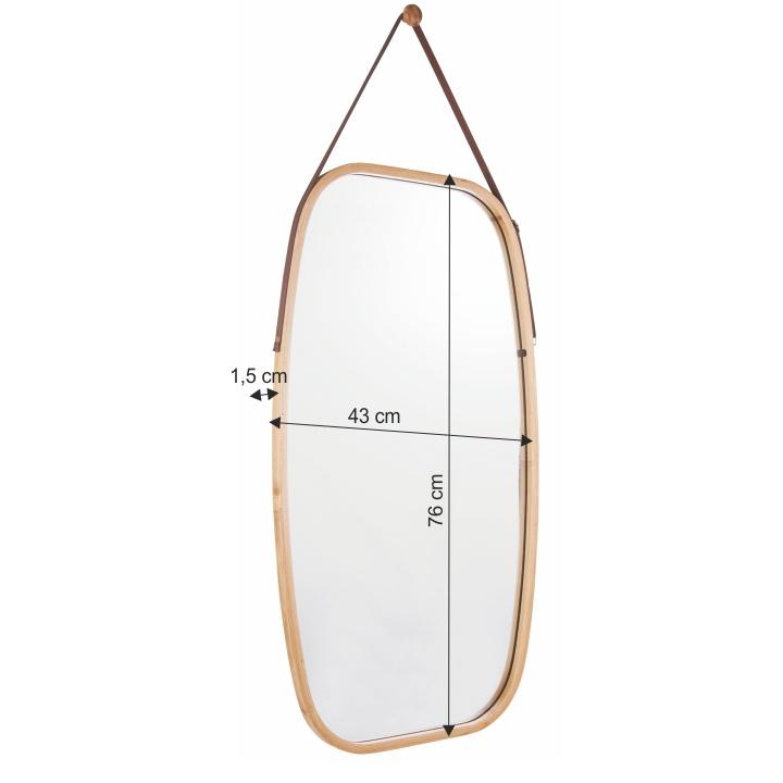 Zrkadlo, prírodný bambus, s rozmermi, LEMI 3