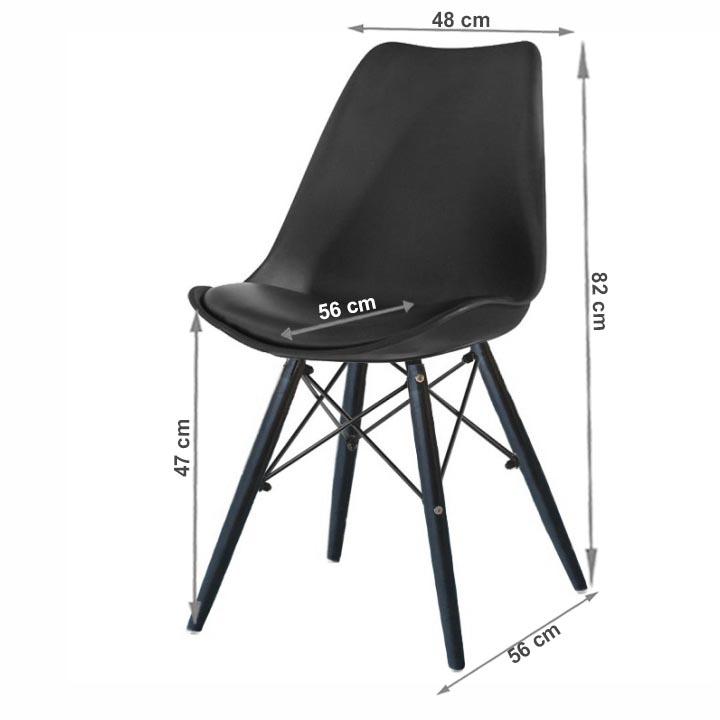 Stolička, čierna, KEMAL NEW s rozmermi