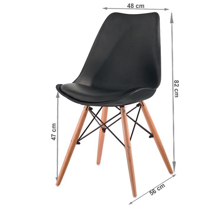 Stolička, čierna/buk, KEMAL NEW, s rozmermi