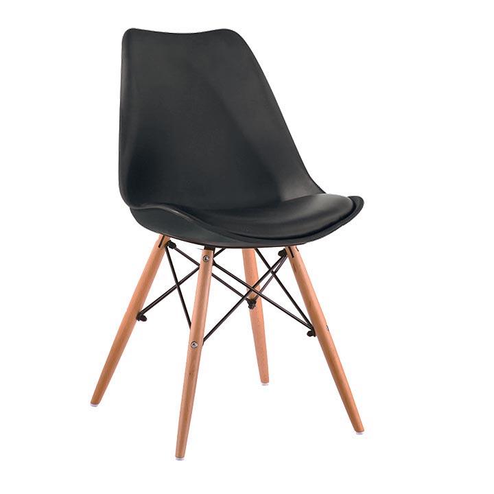 Stolička, čierna/buk, KEMAL NEW