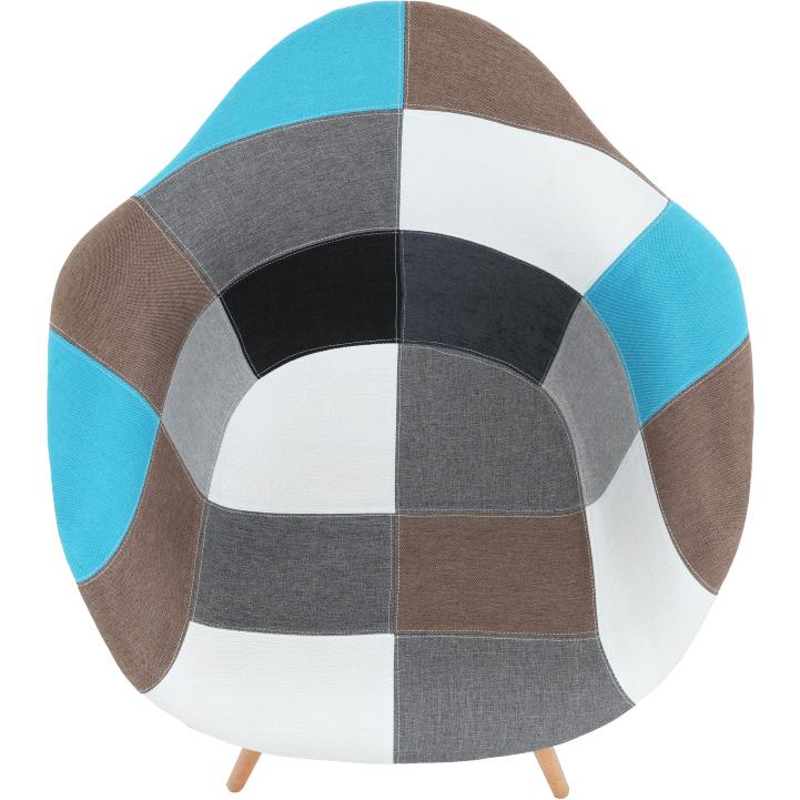 Kreslo, látka patchwork/buk, KUBIS  NEW TYP 2, pohľad zhora
