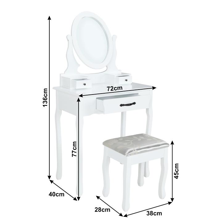Toaletný stolík s taburetom, biela/strieborná, LINET NEW, s rozmermi