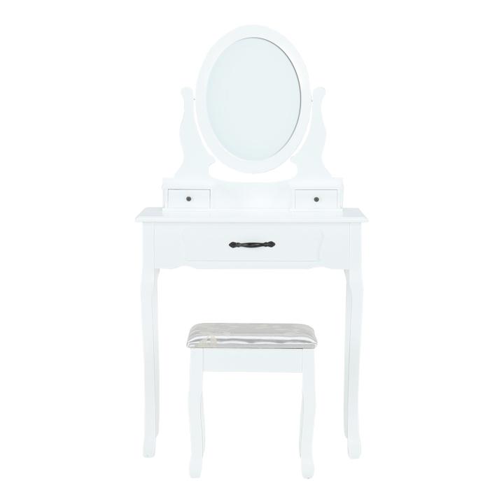 Toaletný stolík s taburetom, biela/strieborná, LINET NEW, pohľad z predu