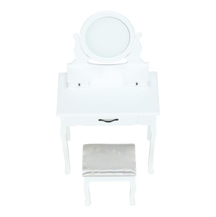 Toaletný stolík s taburetom, biela/strieborná, LINET NEW, detail z predu