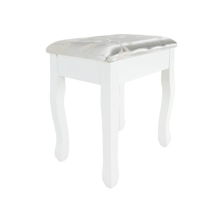 Toaletný stolík s taburetom, biela/strieborná, LINET NEW, taburet