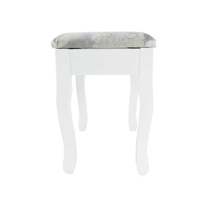 Toaletný stolík s taburetom, biela/strieborná, LINET NEW, taburet z predu