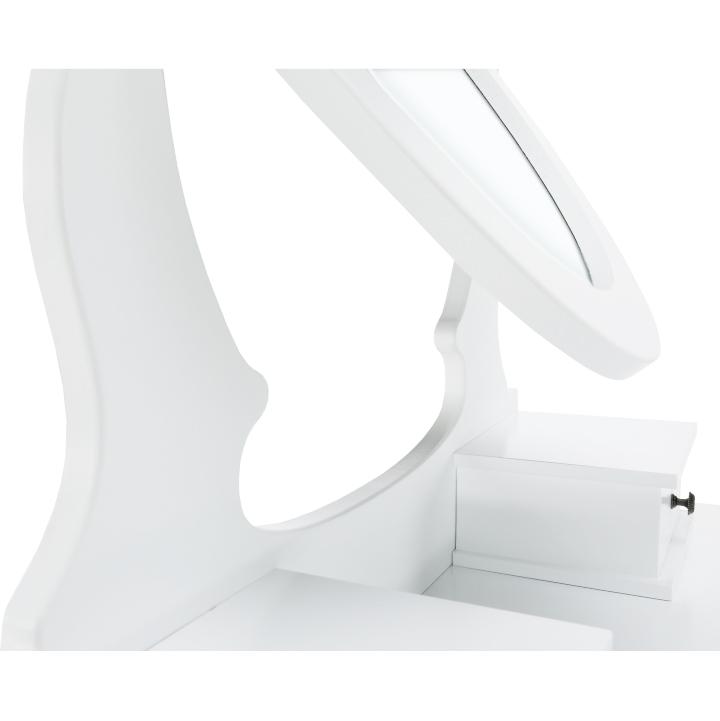 Toaletný stolík s taburetom, biela/strieborná, LINET NEW, zrkadlo