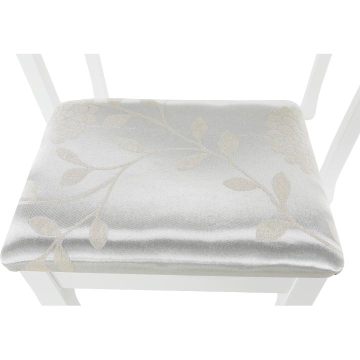 Toaletný stolík s taburetom, biela/strieborná, LINET NEW, poťah taburetu