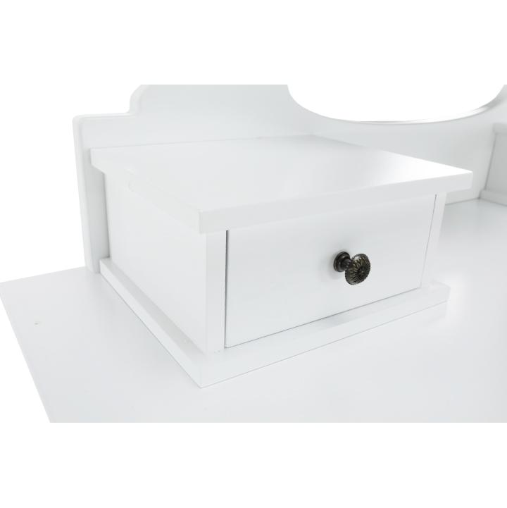 Toaletný stolík s taburetom, biela/strieborná, LINET NEW, malý šuplík