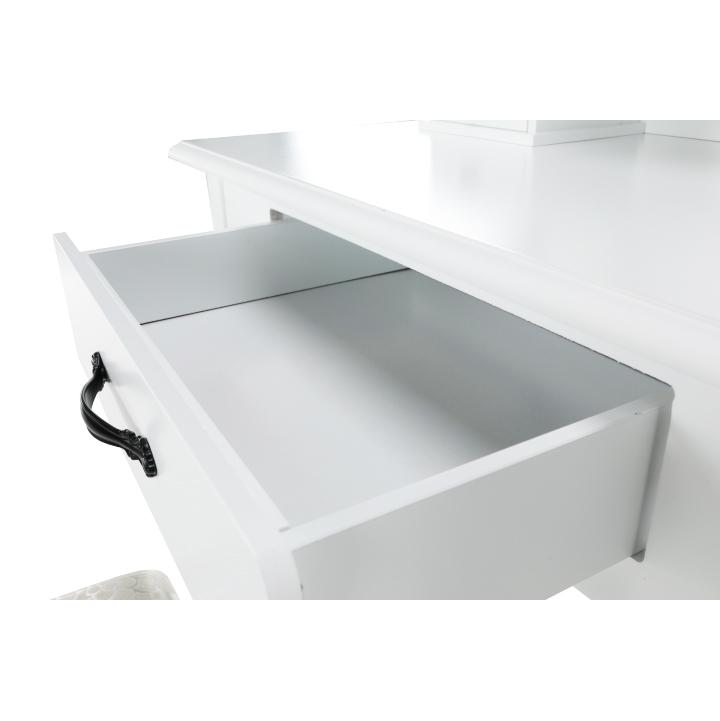 Toaletný stolík s taburetom, biela/strieborná, LINET NEW, šuplík