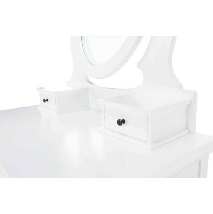 Toaletný stolík s taburetom, biela/strieborná, LINET NEW, zrkadlo so šuplíkmi
