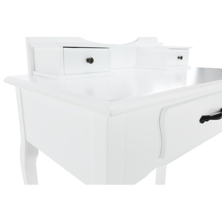 Toaletný stolík s taburetom, biela/strieborná, LINET NEW, šuplíky z boku