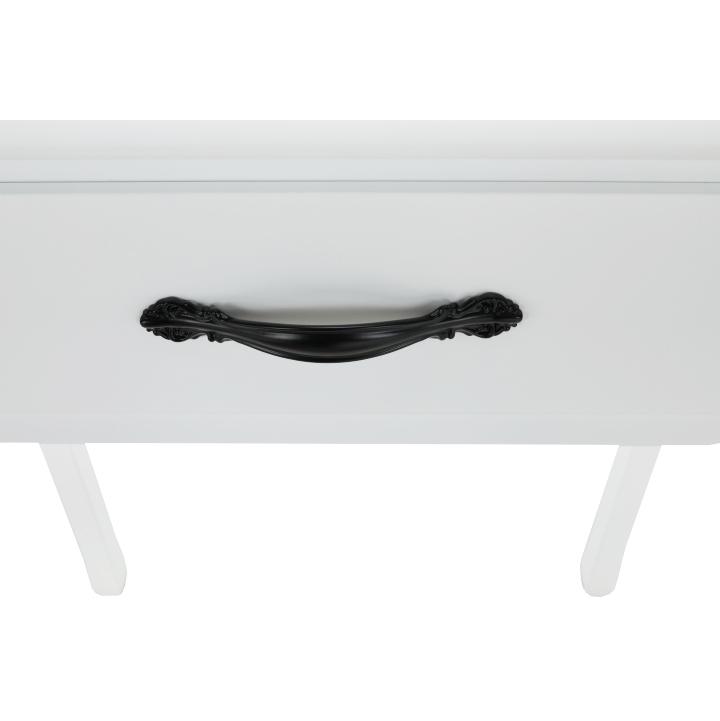 Toaletný stolík s taburetom, biela/strieborná, LINET NEW, úchyt