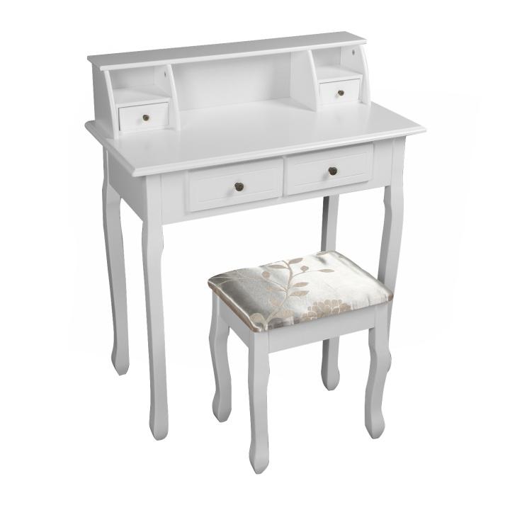 Toalený stolík/toaletka, biela, RODES NEW, na bielom pozadí