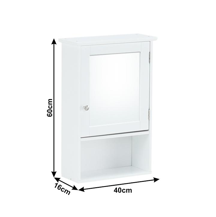 Závesná skrinka so zrkadlom, biela, ATENE TYP 2, s rozmermi