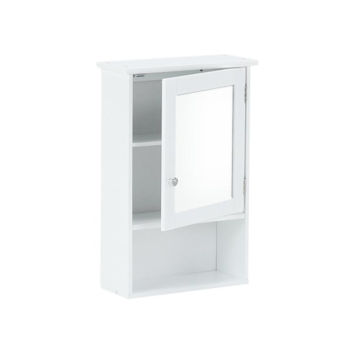 Závesná skrinka so zrkadlom, biela, ATENE TYP 2, otvorené dvierka