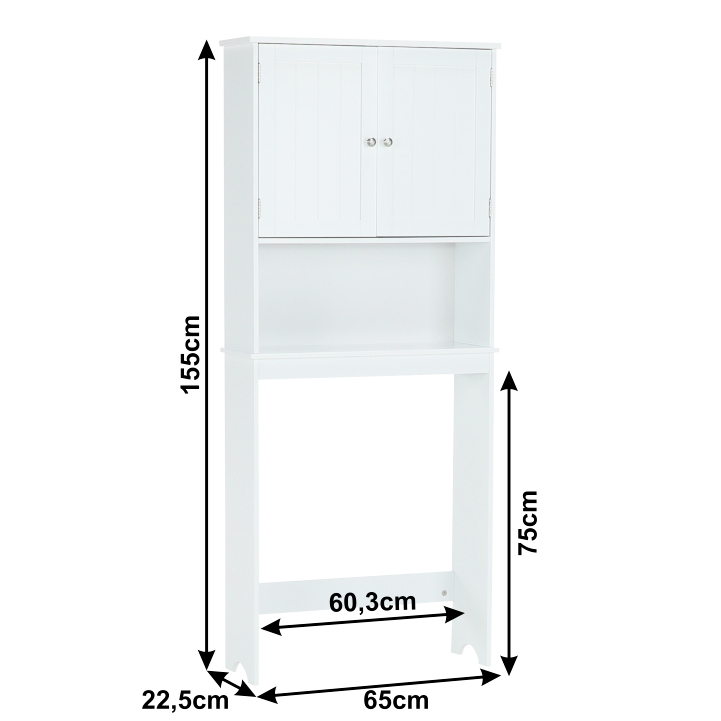 Skrinka nad WC, biela, ATENE TYP 5, s rozmermi