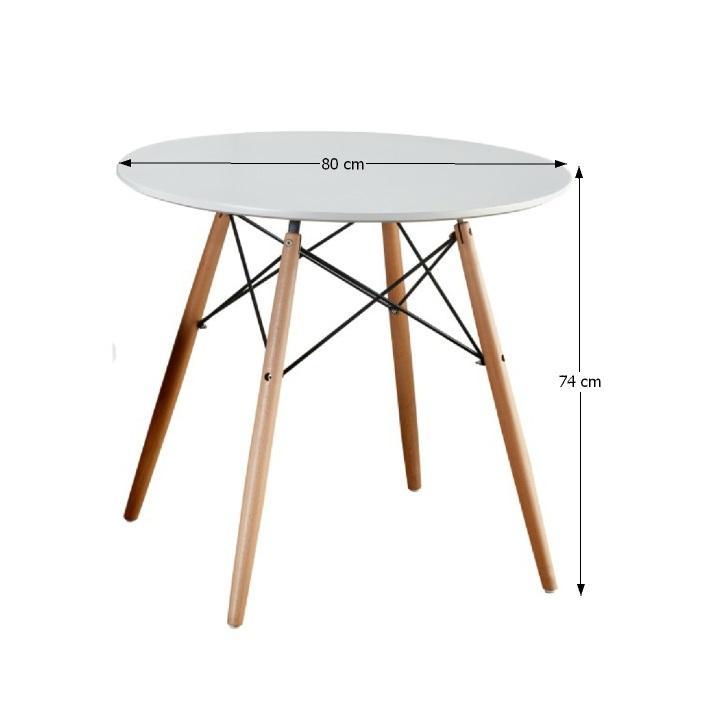 Jedálenský stôl,  biela/buk, GAMIN NEW 80 s rozmermi