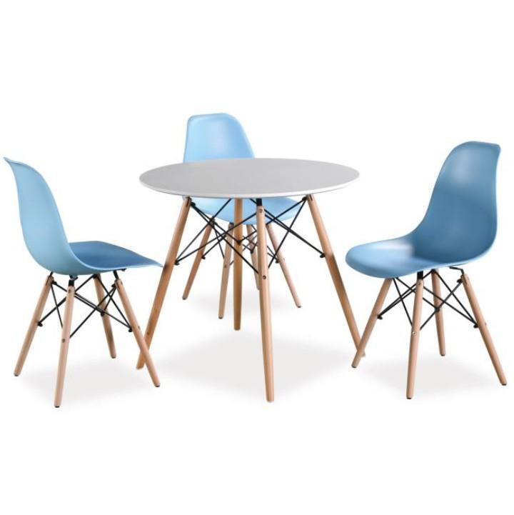 Jedálenský stôl,  biela/buk, GAMIN NEW 80 soi stoličkami