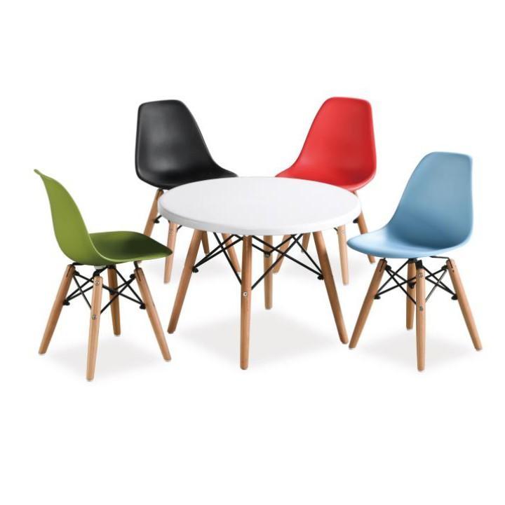 Jedálenský stôl,  biela/buk, GAMIN NEW 80 s farebnými stoličkami
