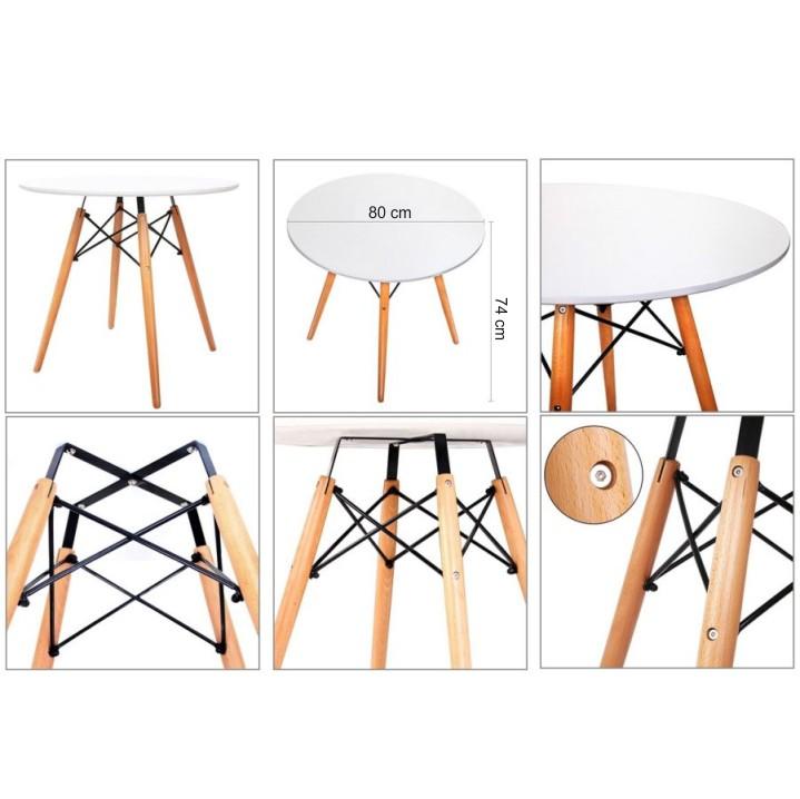 Jedálenský stôl,  biela/buk, GAMIN NEW 80 detail