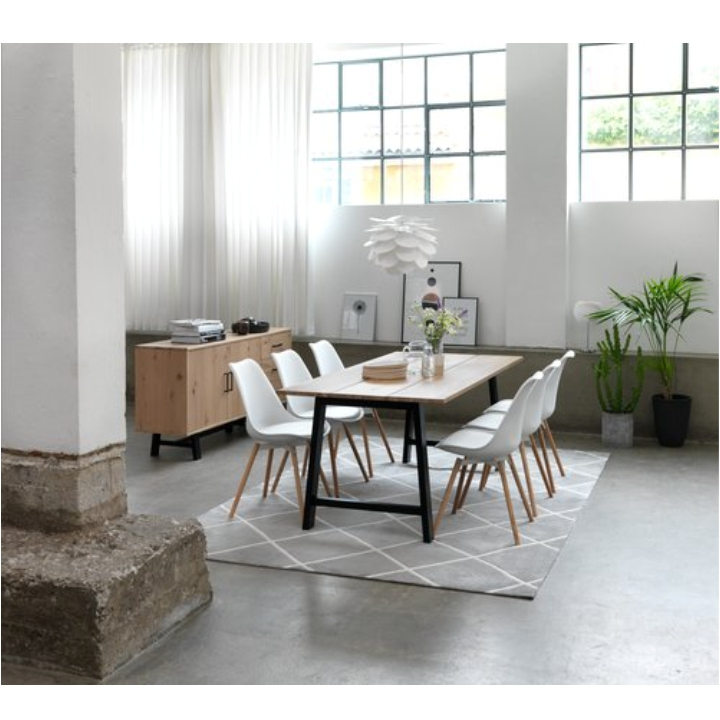 Stolička, biela/buk, SEMER NEW interiér fotka