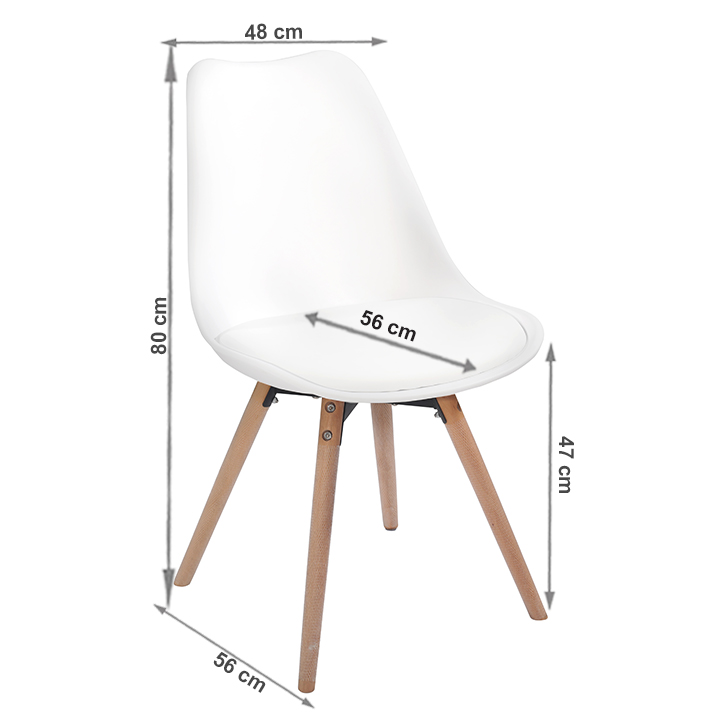Stolička, biela/buk, SEMER NEW, s rozmermi