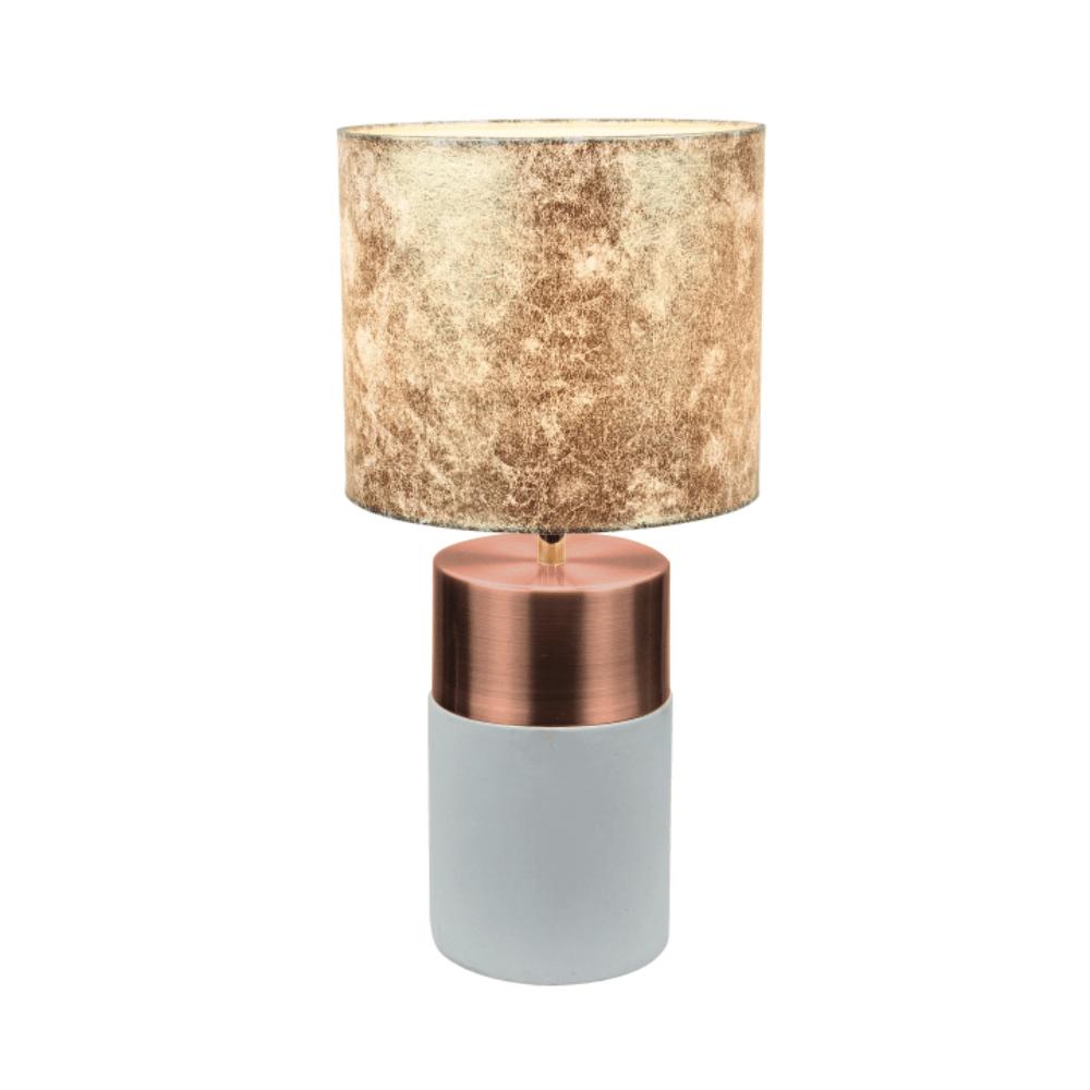 Asztali lámpa, szürke-barna / rózsaszín-arany / arany mintával, QENNY TYPE 18