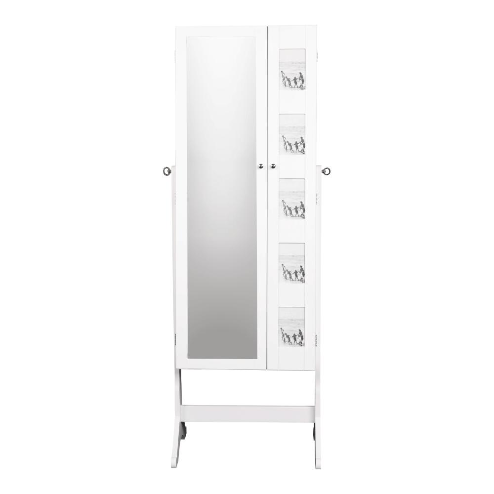 Oglindă cu spaţiu pt. stocare pt. bijuterii, alb CANINI