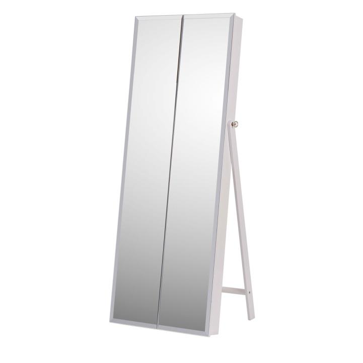 Zrkadlo s úložným priestorom na bižutériu, biela, ONEON - fotka na bielom pozadí