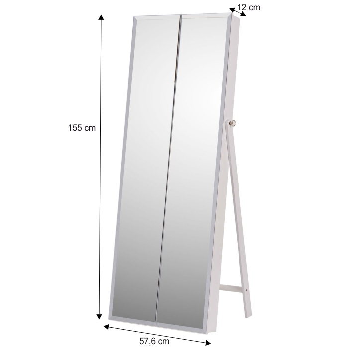 Zrkadlo s úložným priestorom na bižutériu, biela, s rozmermi,  ONEON - interiér