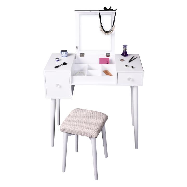 Fésülködőasztal, sminkasztal, fehér/barna, MARVEL