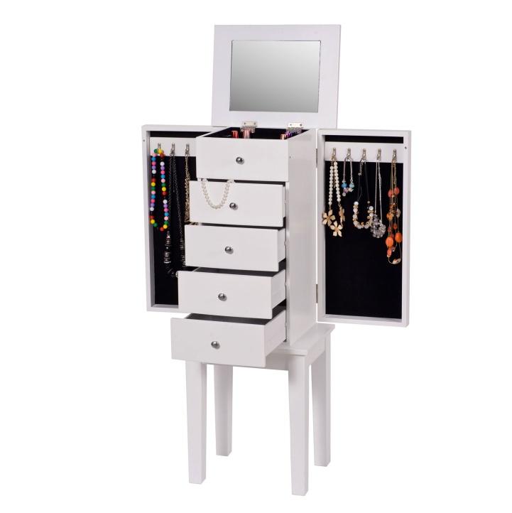 Šperkovnica so zrkadlom, biela, otvorené šuplíky, otvorené dvierka, DINIS