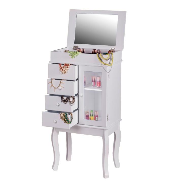 Šperkovnica so zrkadlom, biela, so šuplíkmi a presklennými dvierkami,  RULIA