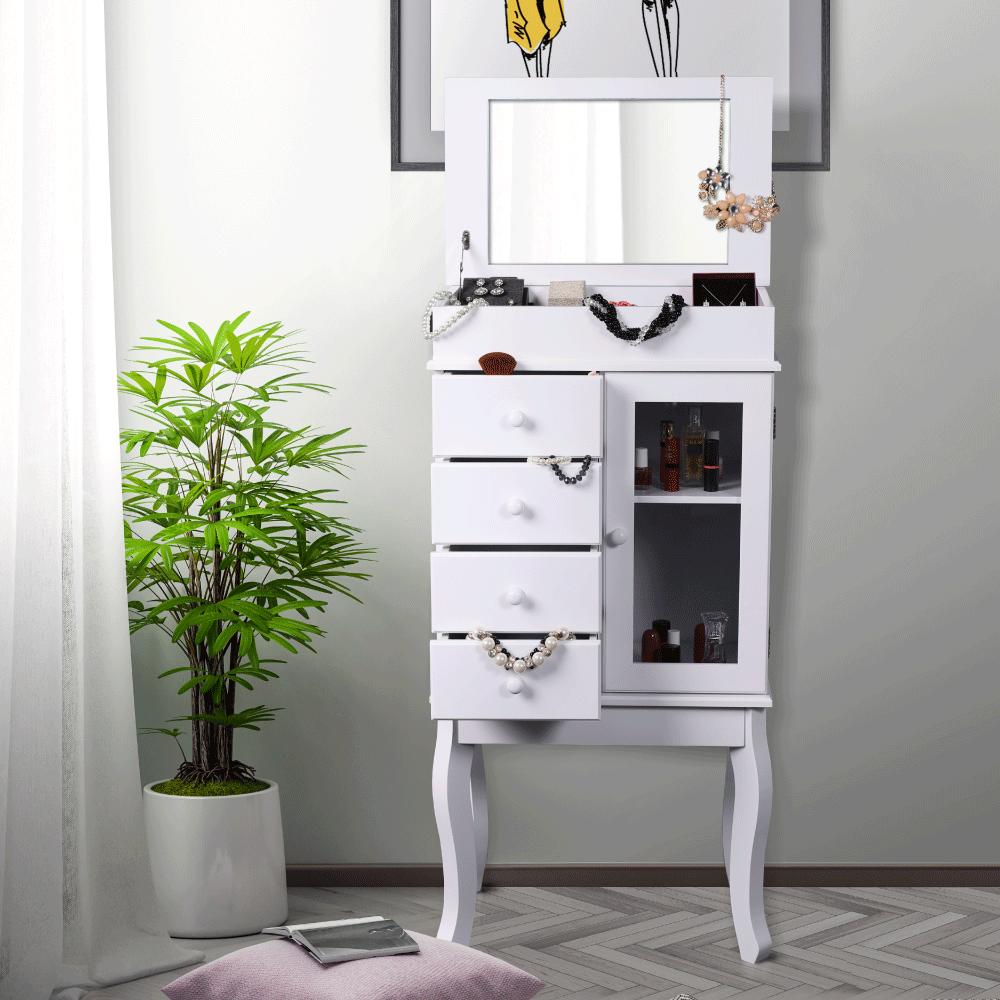 Ékszertartó tükörrel, fehér, RULIA