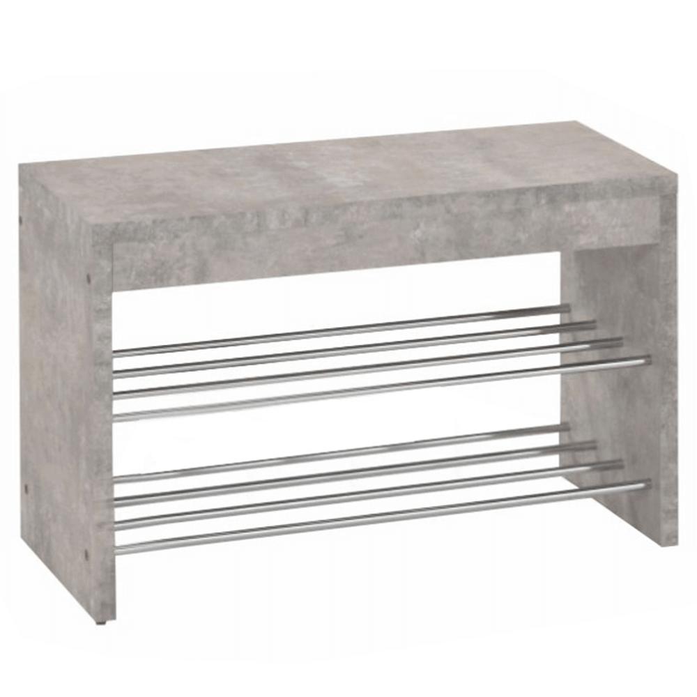 Laviţă cu dulap pt. încălţăminte, beton/crom, LUSIA