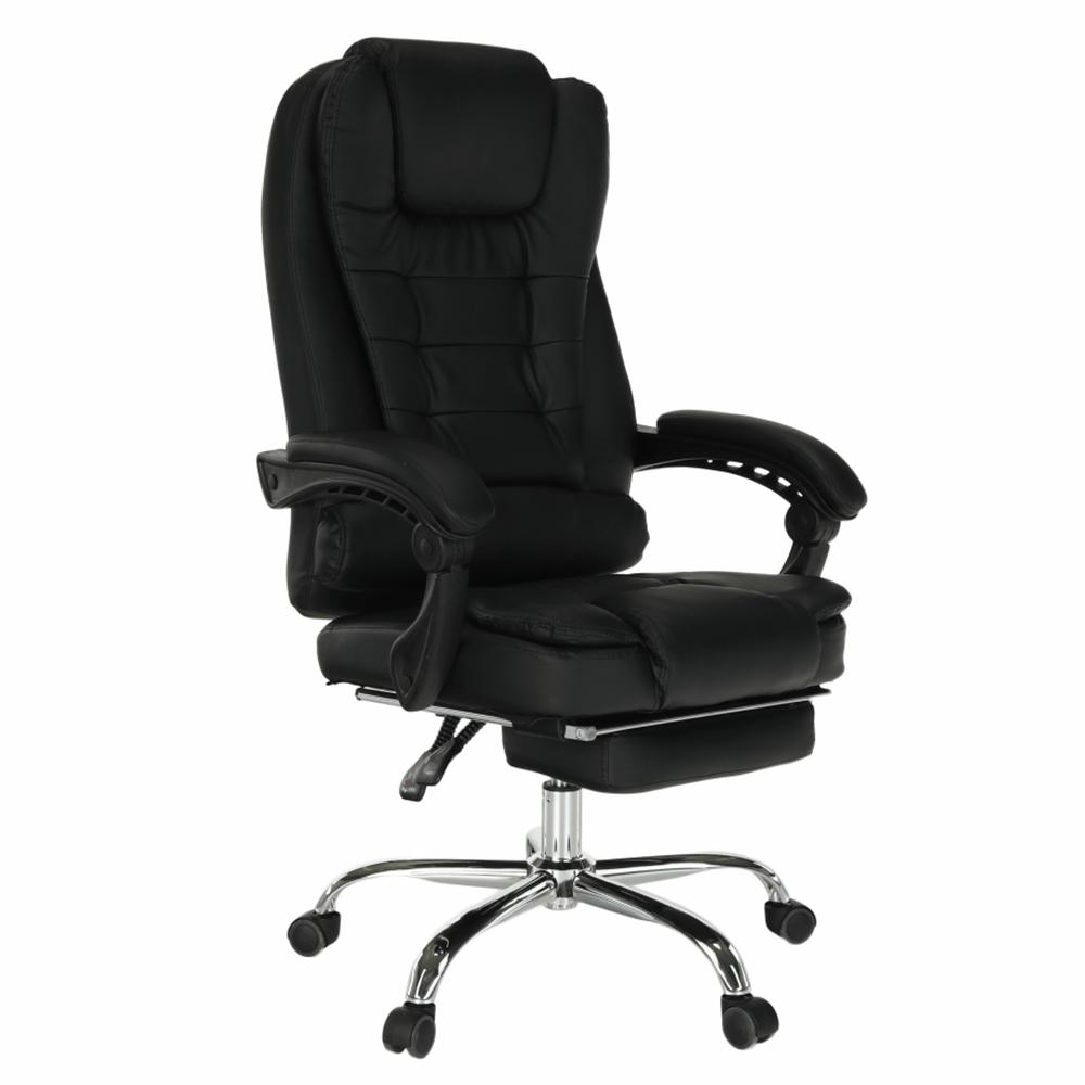 Irodai szék kihúzható lábtartóval, fekete, TICHON NEW