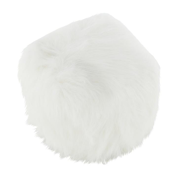Taburet, umelá kožišina/polystyrén, biela, AZENE, pohľad z boku