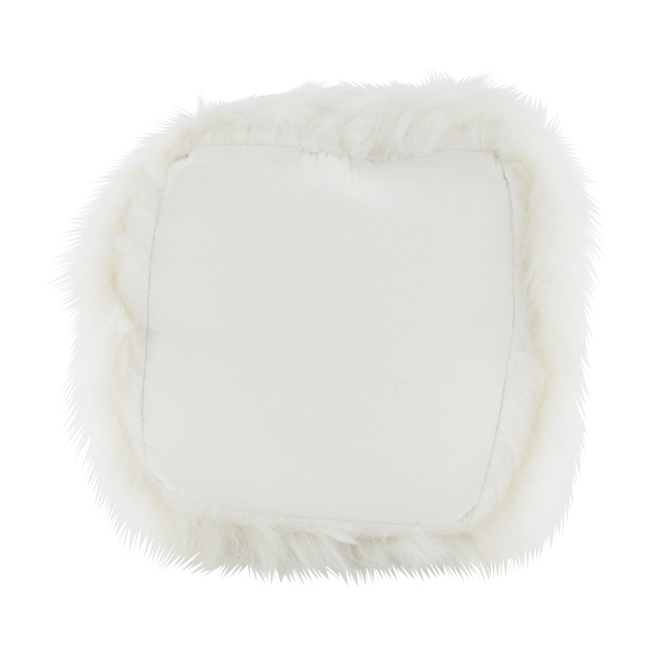 Taburet, umelá kožišina/polystyrén, biela, AZENE, detail zo spodu