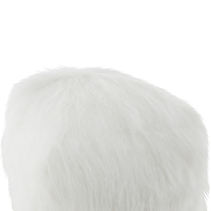 Taburet, umelá kožišina/polystyrén, biela, AZENE, záber z boku