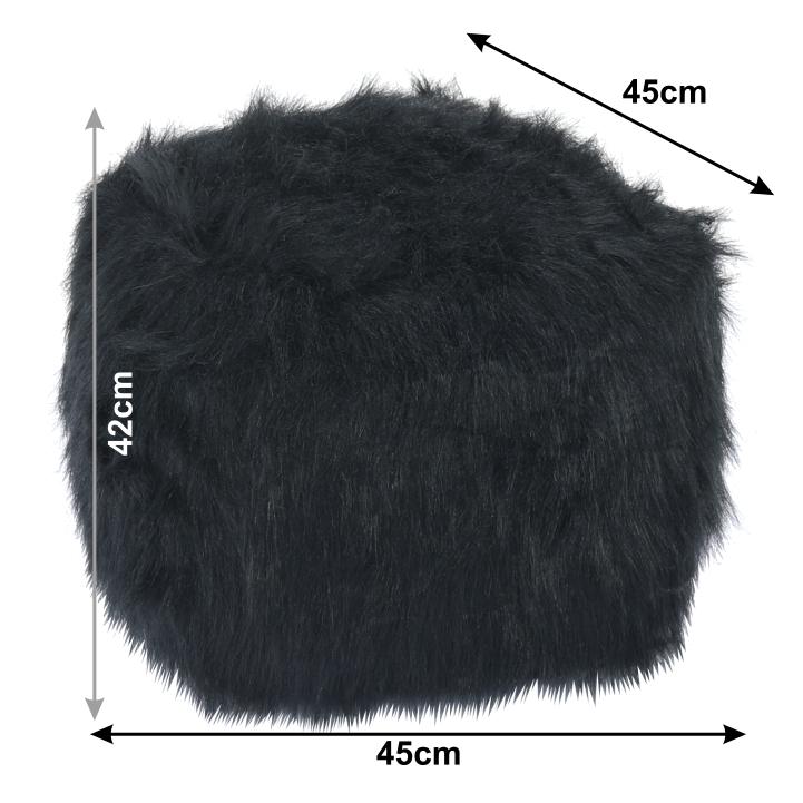 Taburet, umelá kožušina čierna, AZENE, s rozmermi