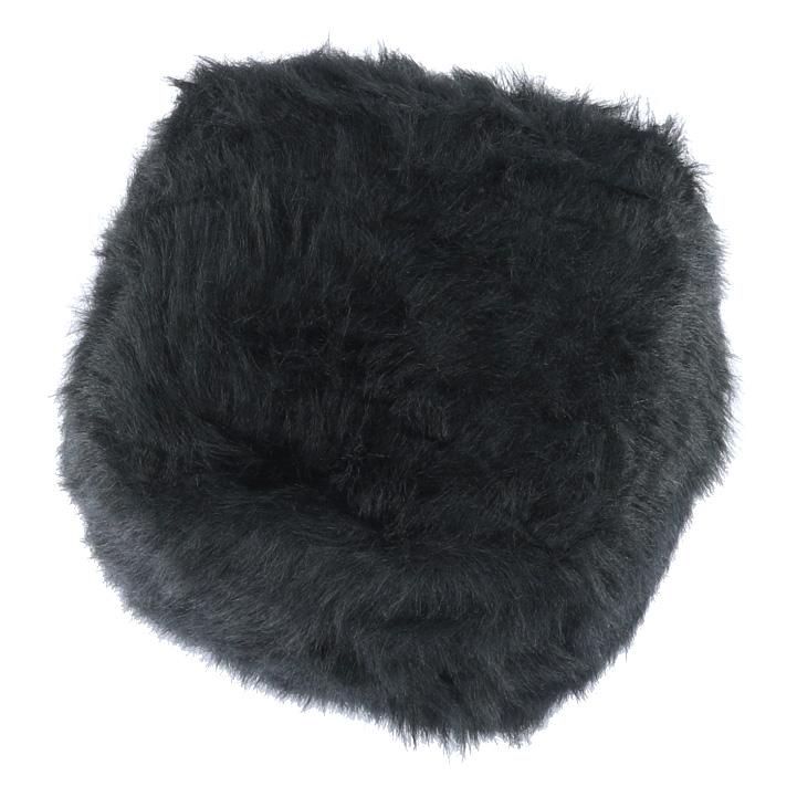 Taburet, umelá kožušina čierna, AZENE, pohľad z hora