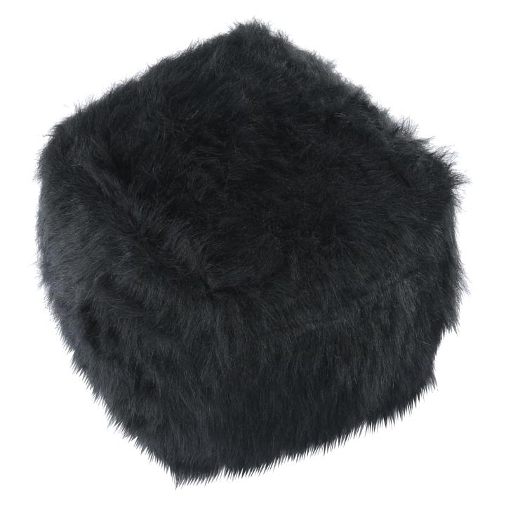 Taburet, umelá kožušina čierna, AZENE, pohľad z boku