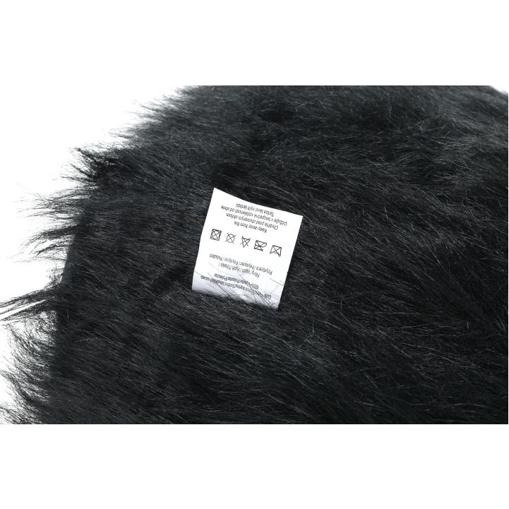 Taburet, umelá kožušina čierna, AZENE, detail boku