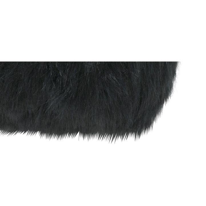 Taburet, umelá kožušina čierna, AZENE, poťah