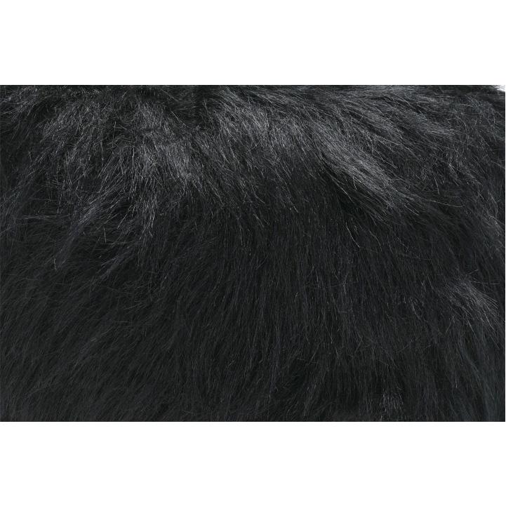 Taburet, umelá kožušina čierna, AZENE, poťahová látka detail