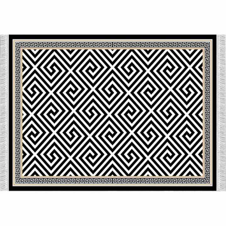 Koberec, čierno-biely vzor, 80x200, MOTIVE, na bielom pozadí