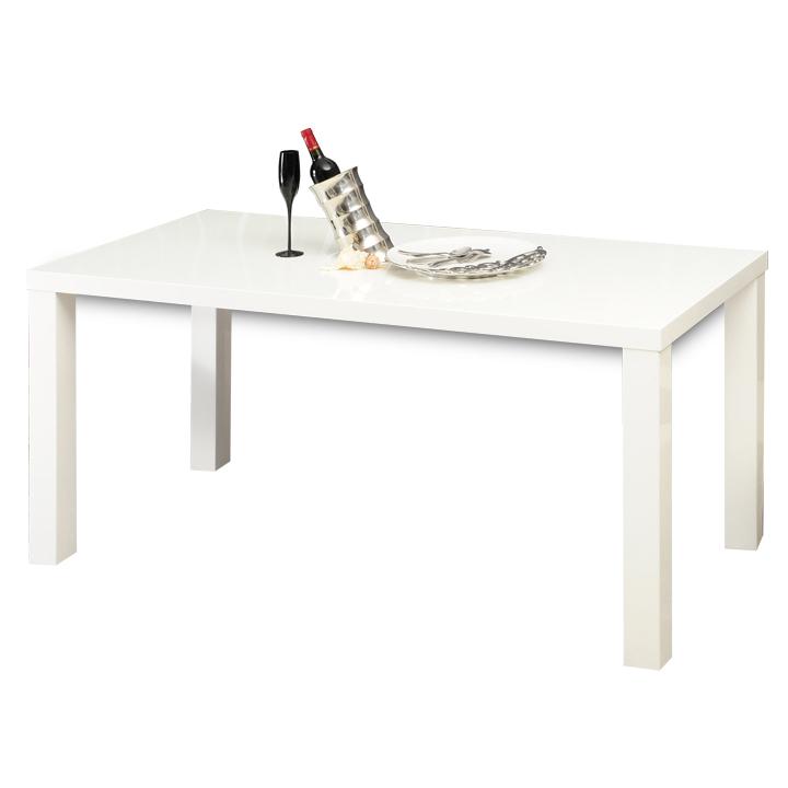 Jedálenský stôl rozkladací, biela vysoký lesk HG, ASPER New TYP 1