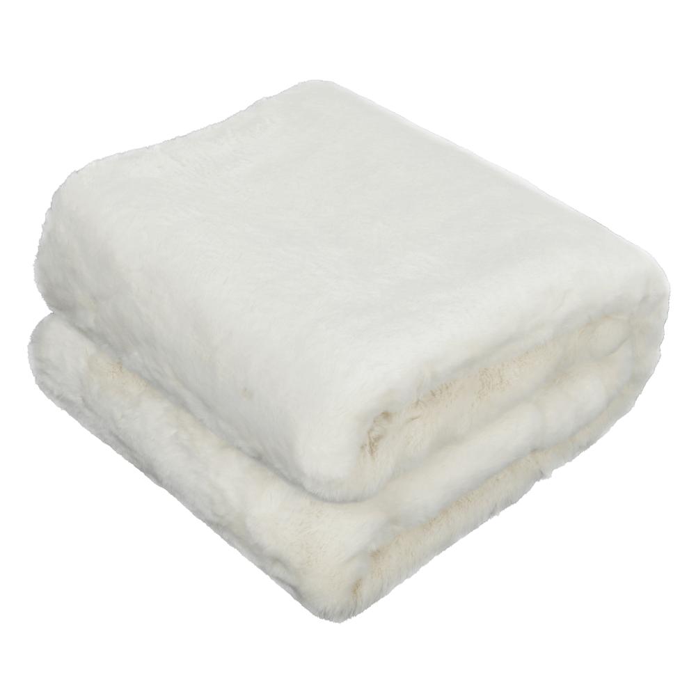 Pătură de blană, alb, 150x180, RABITA NEW TYP 7